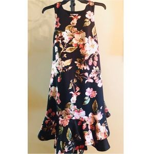 Robbie Bee Shimmery Floral Ruffle Dress